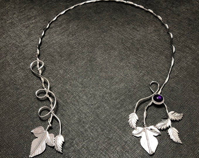 Woodland Leaves Sterling Silver Neck Rings, Handmade Ivy Inspired Leaf Neck Torc in Sterling Silver, Woodland Leaf Neck Torc
