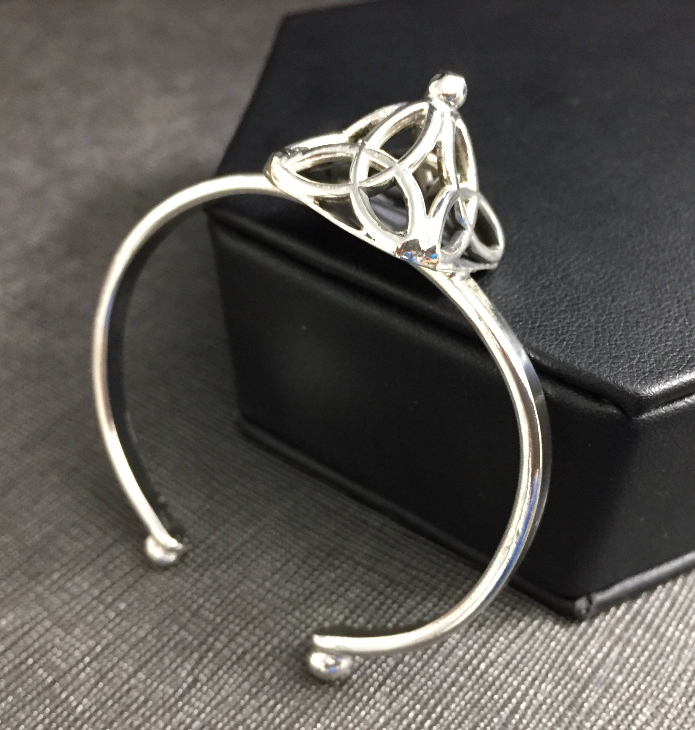 Artisan Cuff Bracelet Celtic Pyramid Trinity Knot Bracelet Cuff in Sterling Silver Scottish Bracelet Cuffs Symbolic Irish Bracelets