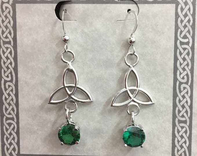 Celtic Trinity Knot Dangle Gemstone Earrings in Sterling Silver, Irish Drop Earrings, Dainty Wedding Earrings, Boho Hipster Earrings