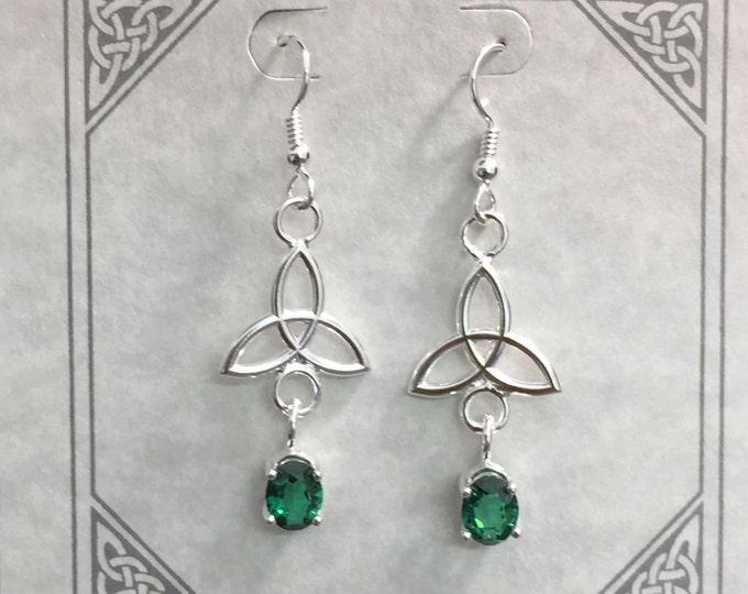 Celtic Knot Emerald Drop Earrings in Sterling Silver, Irish Charmed Dangle Earrings, Earlobe, Cute Jewelry, Cute Earrings