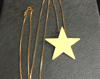 Star Celestial Stevie Nicks Necklace, Stevie Nicks Inspired Star Necklace, Large Sterling Silver Star Necklace 24K gold Plate, Pentagram