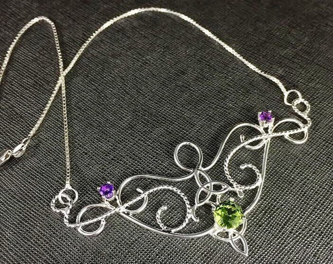 Celtic Art Nouveau Victorian Peridot Amethyst Necklace in Sterling Silver, Bohemian Necklace, Gifts For Her, Artisan Jewelry Handmade