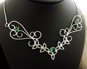 Large Celtic Boho Statement Necklace, Wide Bohemian Style Choker, Art Nouveau Large Necklace, Fantasy Handmade Necklace, Renaissance Wedding