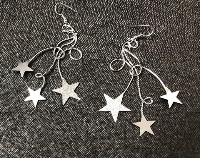 Bohemian Celestial Star Earrings, Star Free Form Wire Statement Earrings, Handmade Star Celestial Earrings, OOAK, Celestial JewelryCute Earr