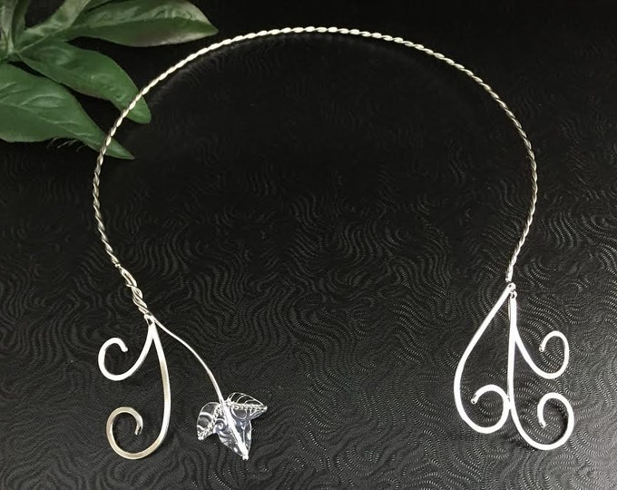 Woodland Leaves Neck Torc in Sterling Silver, Faery Neck Jewelry, Bohemian Leaf Neck Rings, Neck Torc