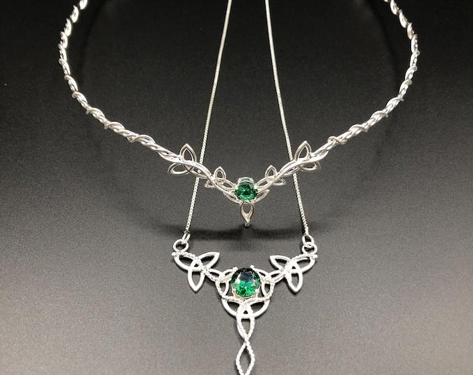 Celtic Gemstone Wedding Circlet and Necklace Set, Irish Emerald Bridal Tiara and Necklace, Celtic Wedding Sets, Scottish  Wedding