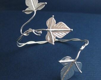 Woodland Leaf Wrap Bracelet Cuff in Sterling Silver, Handmade Ivy Leaves Bracelet cuff Wrap, Woodland Cuff Wrap 925