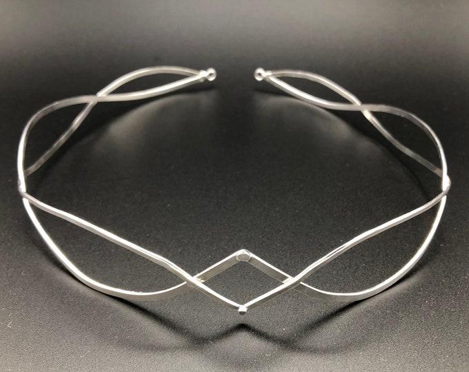 Sterling Silver Unisex Wedding Circlet Headpiece, Men's Circlet, Handmade Unisex Sterling Silver Circlet, Heavy Wire Circlet, Elvish CIrclet