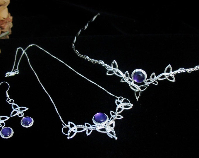 Celtic Knot Irish Wedding Jewelry Set in Sterling Silver, Celtic Tiara, Necklace, Celtic Earrings, Jewelry Set for Brides, Accessories