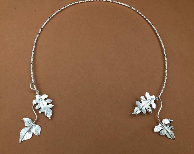 Ivy Leaf Elvish Woodland Sterling Neck Ring, Sterling Neck Collarbone Jewelry, Leaf Neck Torcs, OOAK Necklet and Neck Rings, Bohemian Torcs