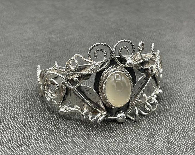 Woodland Elven Faery Bracelet Cuff in Sterling Silver, Handmade Leaves Cuff Bracelet, OOAK Handmade Cuff Bracelet, Artisan, Sterling Silver