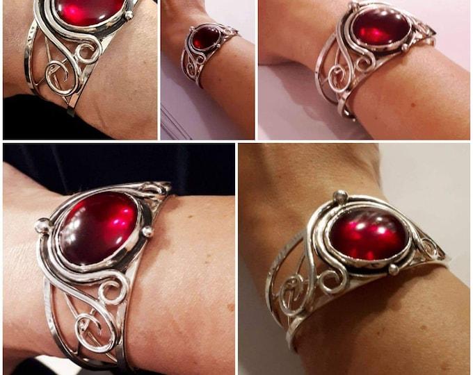 Sterling Silver Witchblade Style Bracelet, Artisan Boho Red Glass 25mm Cabochon, Statement Heavy Bracelet Cuff Large, Handmade Cuff Bracelet
