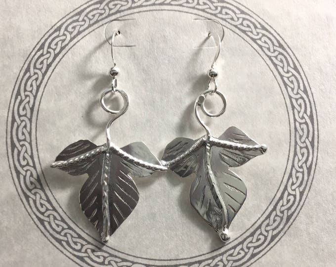Leaf Earrings with Ear Wires in Sterling Silver, Woodland Autumn Leaf Earrings, Simple Earrings, Gifts for HerCute Earr