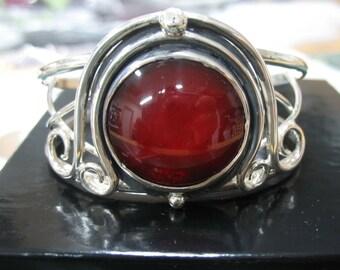 Sterling Silver Witchblade Style Celtic Swirl Bracelet Cuff with 25mm Red Gemstone, Handmade Artisan Cuff Bracelet