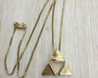 TriForce Cosplay Inspired Necklace In Sterling Silver with 24K Plate, Hyrule Triangle Necklace, 24K Gold Plate Overlay, Legend of Zelda
