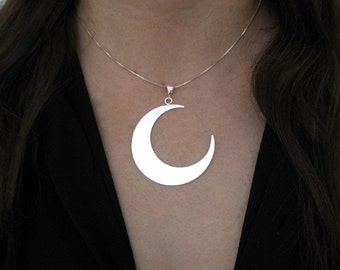 Large Crescent Moon, Crescent Moon Necklace 1.75 Inch Large Moon Crescent Pendant Necklace, 18 Inch Box Chain .925 1.2mm thickness