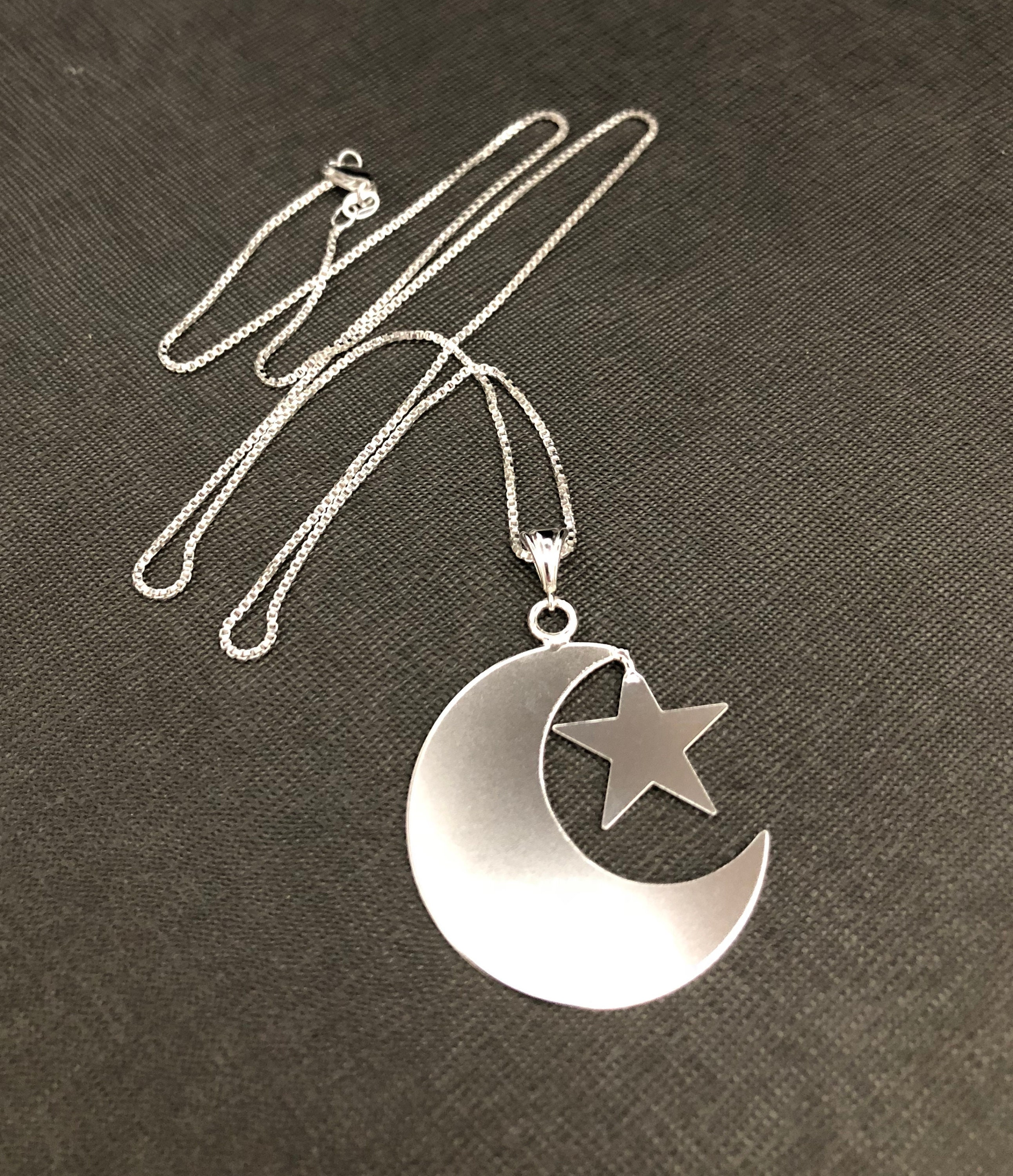 handmade moon and star necklace