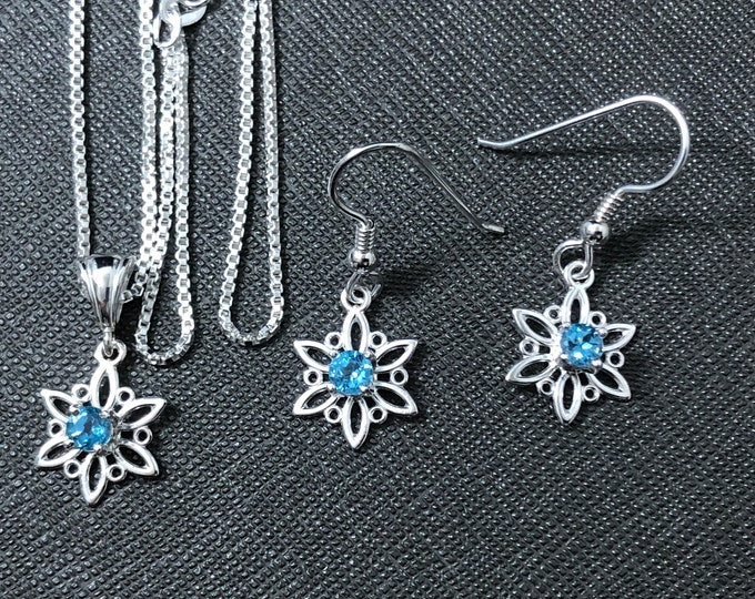 Snowflake Necklace and Earrings Set, Winter Necklace with Gems, Gifts For Her, 925 Box Chain, Snowflake Holiday Christmas Necklaces 925
