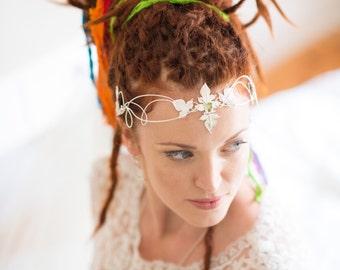 Boho Bridal Circlet, Woodand Leaves Wedding Circlet, Handmade Leaf Bridal Circlet, Renaissance Bridal Wedding Circlet, OOAK, Sterling Silver