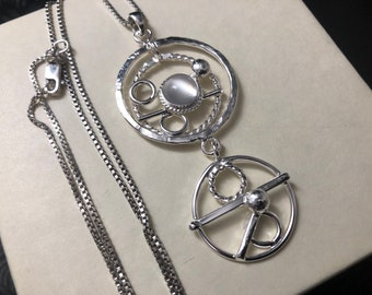 Bohemian Moonstone Eternity Circle Necklace in Sterling Silver, Eternity Abstract Necklaces, Statement Jewelry, Gifts for Her