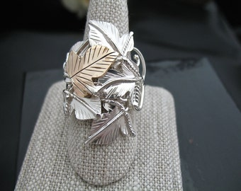 Woodland Leaf Ring, Sterling Silver Handmade Ring, Statement Woodland Ring, artisan rings, Leaf Jewelry, Gold-filled leaf