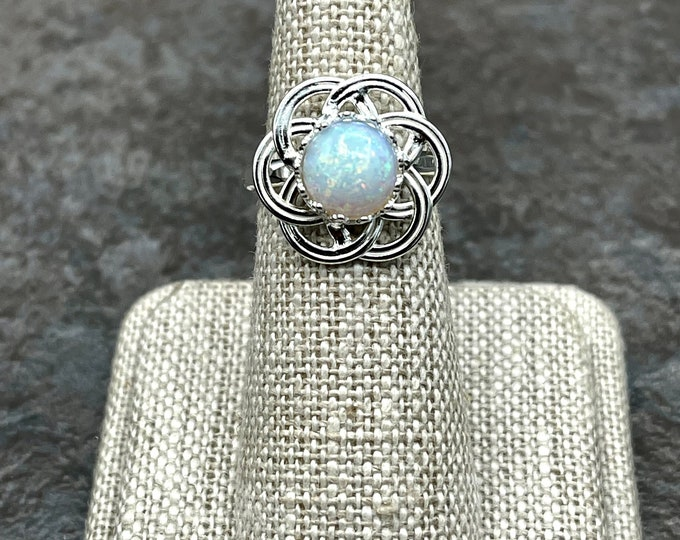 Opal Silver Ring, Simple Celtic  Rings, Gifts For Her, Handmade Sterling Silver Ring, Simple Gemstone Ring