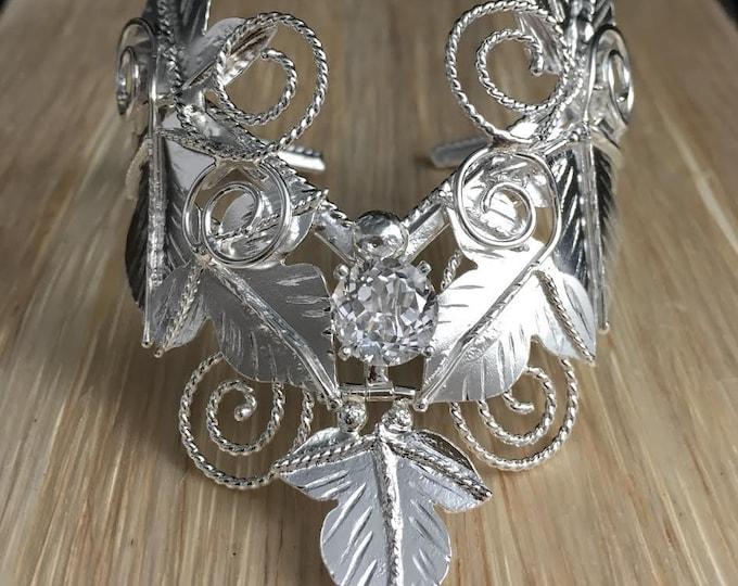 Woodland Gemstone Leaf Cuff Bracelet in Sterling Silver, Heavy Bracelet Cuff, 8mm White Topaz, Statement Bracelet Cuff Movable Leaf