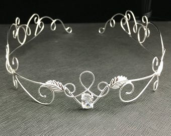 Tiaras, Renaissance Bohemian White Topaz Bridal Circlets, Woodland Weddings, Gifts For Her, Circlets, Sterling Silver Handmade