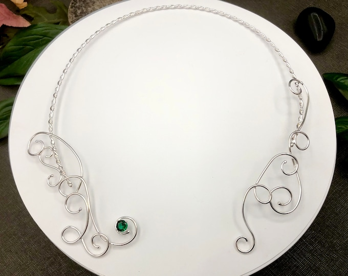 Bohemian Fae Sapphire Emerald Neck Torc, Celtic Neck Piece, Neck Torc Wire Work with Emerald,  Renaissance Chokers, Gifts For Her