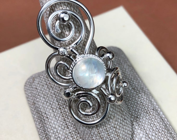 Bohemian Sterling Silver Artisan Gemstone Ring, Art Nouveau Statement Rings, Abstract Swirl Finger Jewelry