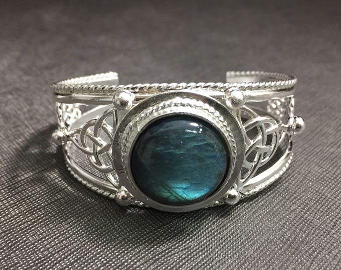 Labradorite Celtic Knot Bracelet Cuff, Artisan Statement Cuff Bracelets, Large Bracelet Cuff, Irish Bracelets, Wrist Jewelry, Gifts For Her