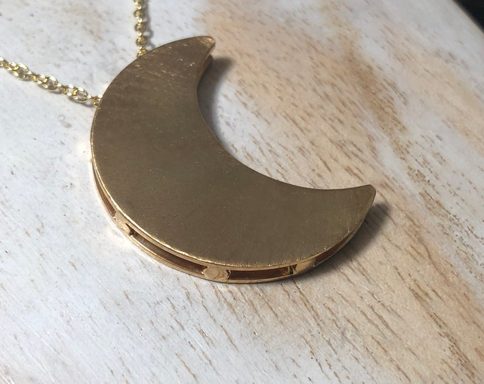 Crescent Moon Stevie Nicks Style Moon Necklace in Sterling Silver with 24K Gold Overlay, Celestial Moon Necklaces, 18 inch Chain, Artisan