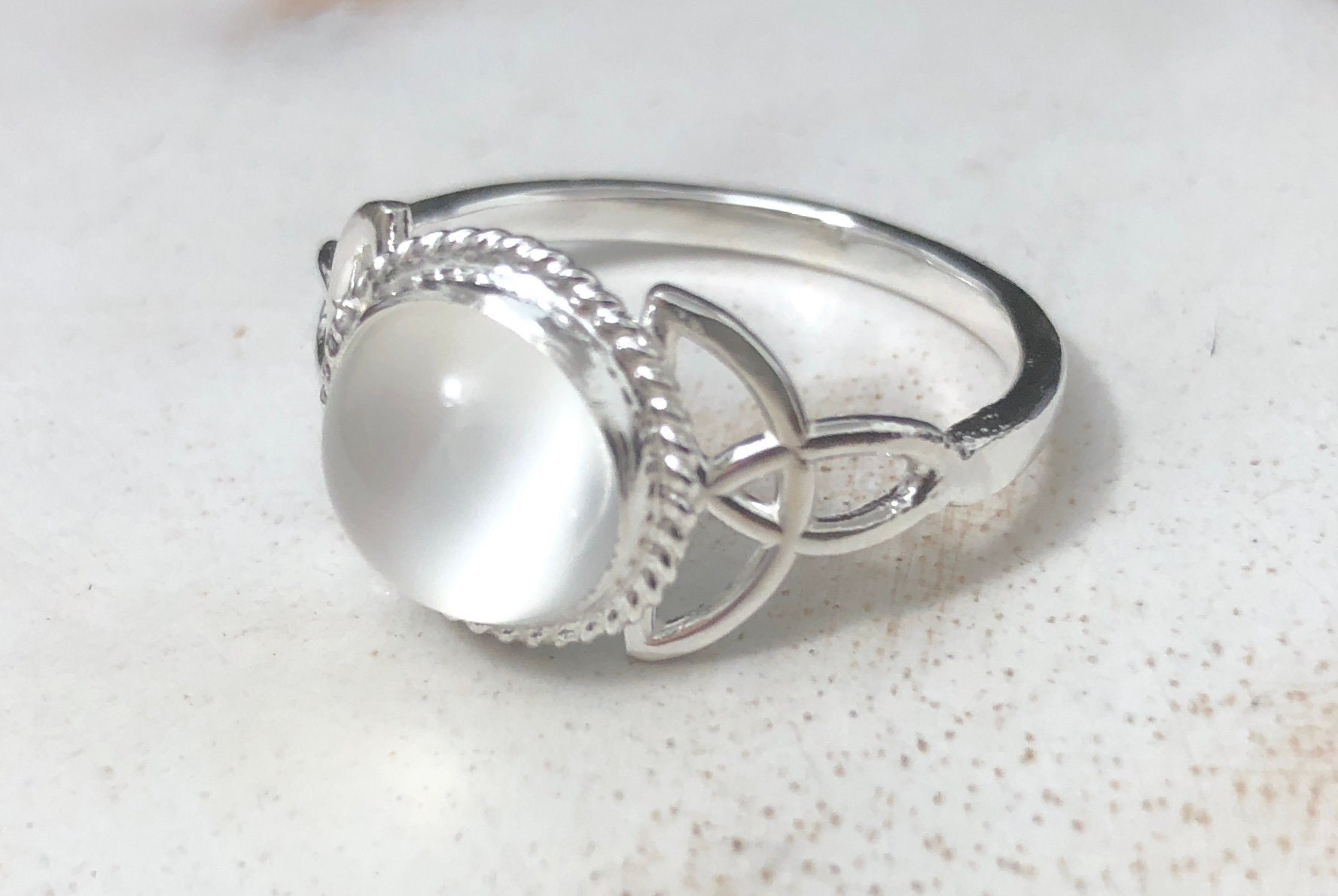 Moonstone Celtic Sterling Silver Ring, Irish Celtic Knot ...