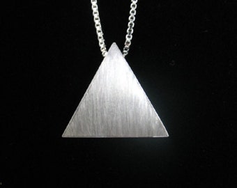 Sterling Silver Pyramid Pendant Necklace 18 inch Sterling Silver Box Chain - Stevie Nicks Inspired, Handmade Triangle Pendant,