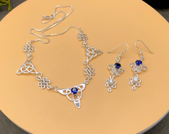 Celtic Trinity Knot Faceted Sapphire Necklace in Sterling Silver, Irish Necklaces, Artisan Neck Jewelry, Bohemian Necklaces