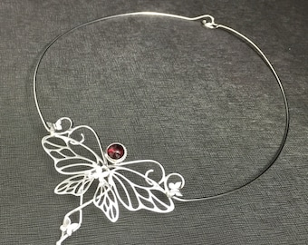 Butterfly Artisan Neck Jewelry, Bohemian Sterling Silver Gemstone Neck Rings, Mariposa Neck Ring, Butterfly Bohemian Neck Torc Jewelry