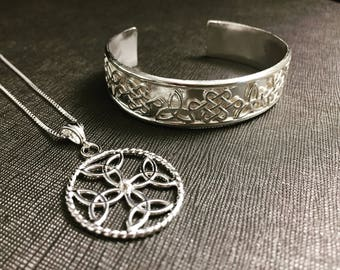Celtic Knot Bracelet Cuff, Dara Irish Necklace with 18 Inch Box Chain, Handmade Irish Celtic Knot Necklace, Irish Necklaces,  Irish Pendants