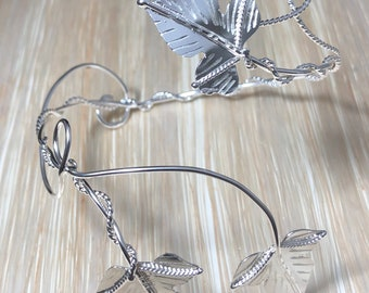 Ivy Leaf Wrap Bracelet Cuff Handmade in Sterling Silver, Faery Woodland Leaves Cuff, OOAK Cuff Bracelet Wrap - 925 Handmade