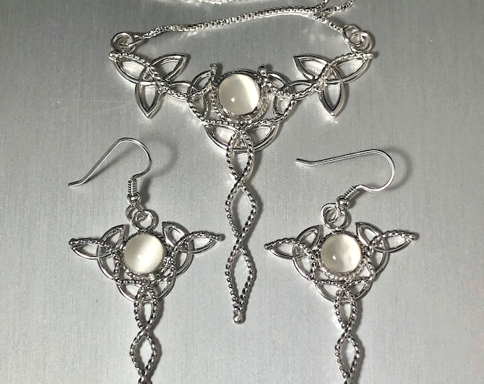 Celtic Trinity Knot Moonstone Necklace and Earring Set in Sterling Silver, Handmade Bohemian Jewelry Sets, Gifts for Her, Anniversary