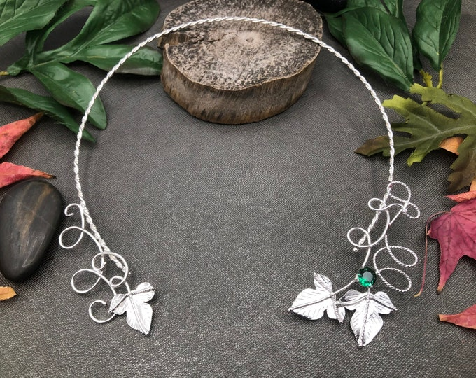 Woodland Elvish Moonstone Neck Jewelry in Sterling Silver, Neck Rings, Handmade Neck Torcs, Wedding Accessories, Gifts For Her