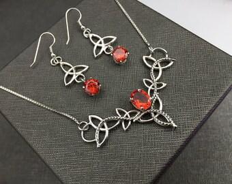 Celtic Irish Necklace Earring Set with Gemstone Choice, Celtic Wedding Jewelry Set, Bohemian Necklace w Earrings and Rhodium Plating