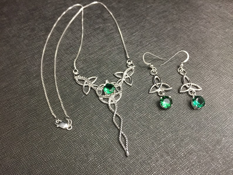 022ddb512 Emerald Celtic Necklace and Earring Set Sterling Silver | Etsy
