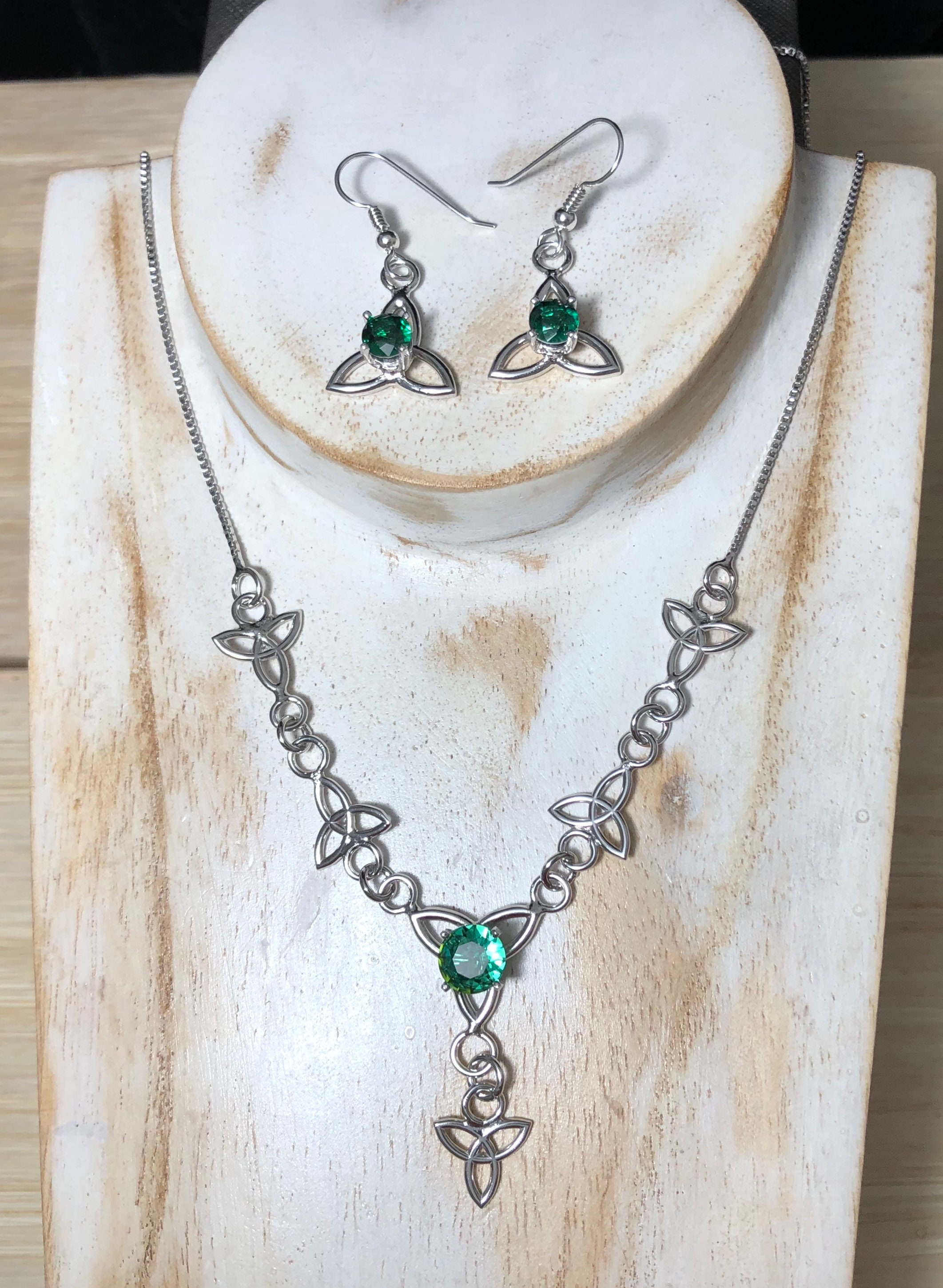 1d226ac3c Celtic Necklace and Earrings Set, Gifts For Her, Trinity Knot Gemstone  Necklace, Boho 18 Inch Necklace, 925 Sterling Silver Necklaces