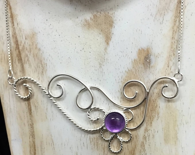Bohemian Amethyst Moonstone Necklace in Sterling Silver, Elvish Inspired Necklaces. Statement Jewelry, Gifts For Her