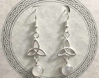 Celtic Dangle Drop Earrings in Sterling Silver with 8mm Moonstones, Handmade Dangle Drop Earrings with Gems, Charmed Knot Trinity Jewelry
