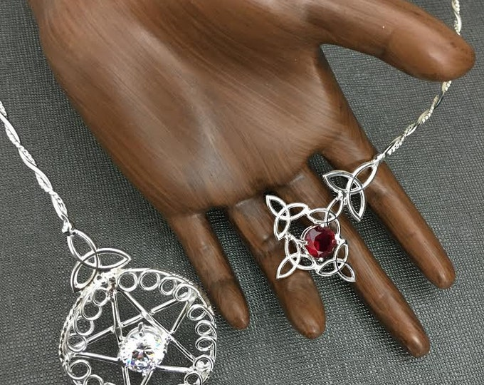 Wiccan Pagan Star Neck Torc in Sterling Silver, Celtic Wiccan Neck Torc, Celtic Neck Torc, Gemstone Neck Torc, Handmade OOAK Neck Jewelry