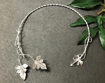 Woodland Elvish Sterling Silver Neck Torc, OOAK Artisan Handmade Neck Ring, Leaf Torc, Nature Inspired Torc, Handmade, OOAK
