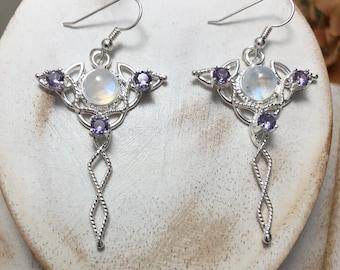 Celtic Knot Earrings with 8mm Moonstone, Irish Earrings, Gifts For Her, Celtic SymbolIc Earrings, Pictish, VikingCute Earr