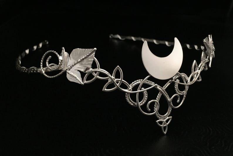 Wedding Circlet for Hair Handmade Artisan SCA Pagan Alternative Elvish Celtic Leaves Crescent Moon Bridal Wedding Tiara in Sterling Silver