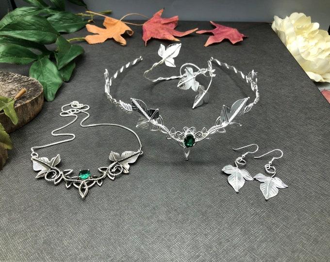 Woodland Bridal Tiara, Earrings, Bracelet and Necklace in Sterling Silver, Fae Wedding Circlet, Necklace, Bohemian Wedding Bracelet Set